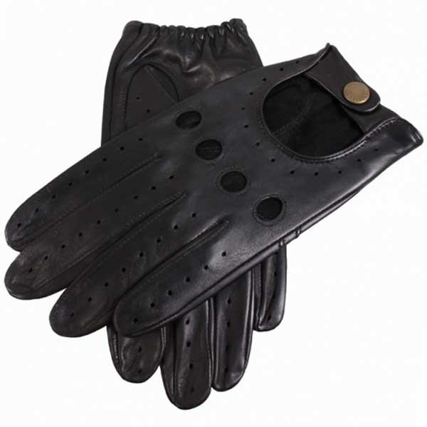 Dents Delta Men's Hairsheep Leather Driving Gloves - Black