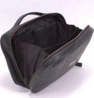 Dents Black Leather Zip Side Washbag