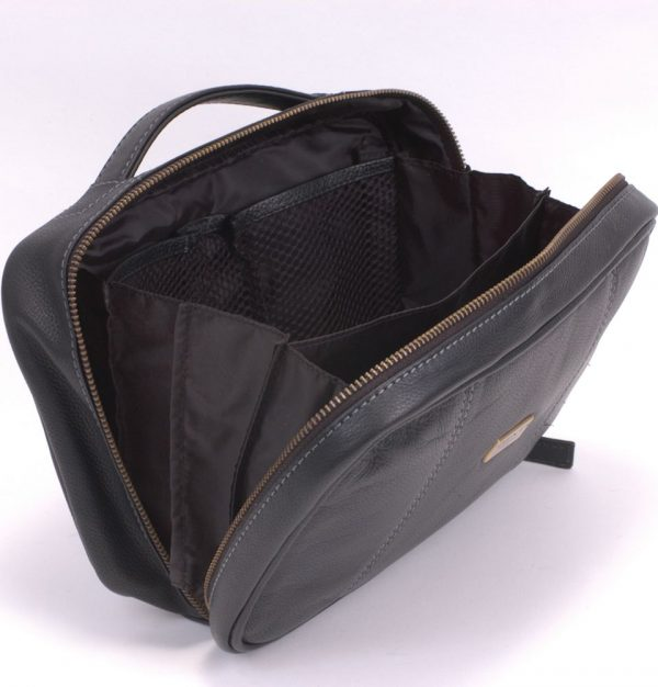 Dents Black Leather Zip Side Washbag