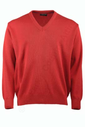 Franco Ponti V-Neck Sweater - Red