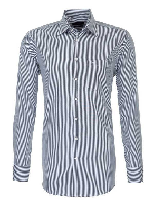 Seidensticker Charcoal Stripe Shirt - Classic Pure Cotton