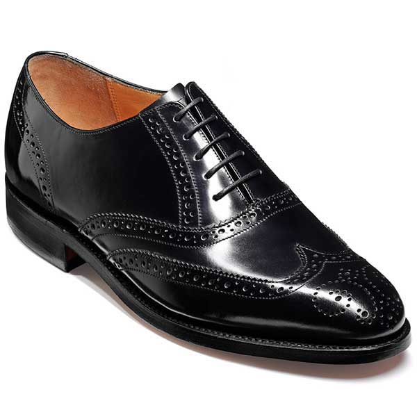 Barker Shoes - Albert Black Hi-Shine - Wingtip English Brogue Wide-Fit