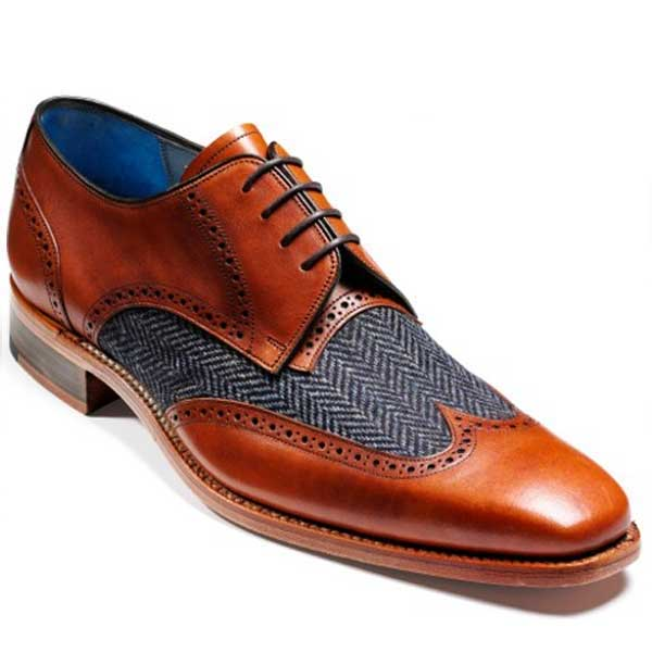 Barker Shoes - Jackson Cedar Calf Leather / Blue Tweed