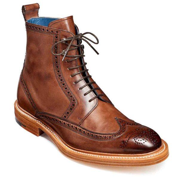 Barker Butcher 2 Brogue Boots - Ebony Hand Painted
