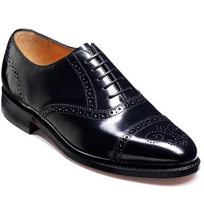 Barker Shoes - Alfred Black Hi-Shine - Semi Brogue Style