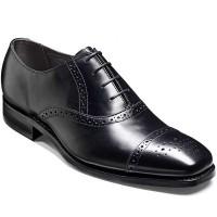 Barker Shoes - Flynn Black Calf - Semi Brogue