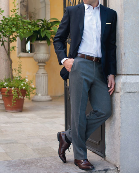 Get The Look: Navy Blazer - White Shirt - Grey Trousers - Brown Shoes