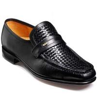 Barker Shoes - Adrian Moccasin Black Calf & Weave Loafer