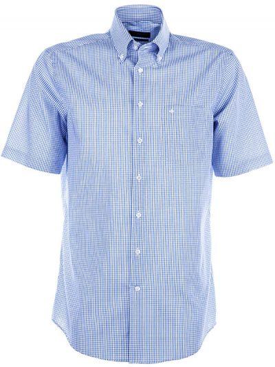 Seidensticker Short Sleeve Shirt - Button Down Collar - Splendesto - Blue Check