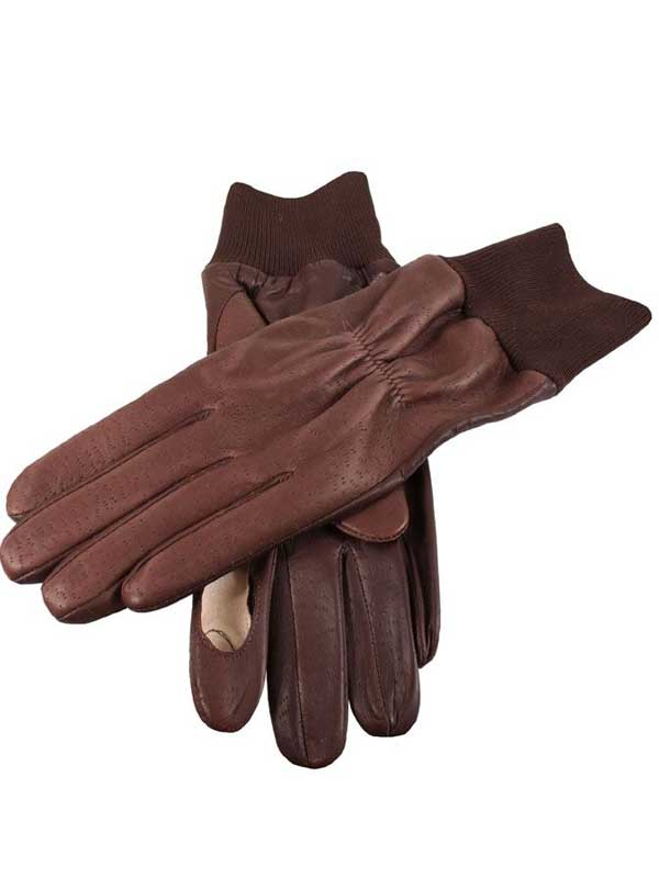 Dents Shooting Gloves - Right Hand - Imitation Peccary Leather - Brown