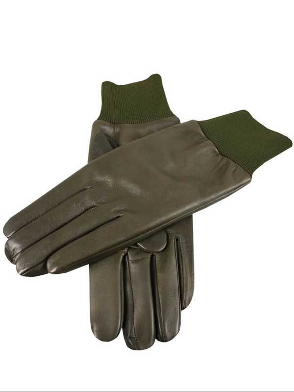 Dents Shooting Gloves - Right Hand - Water Resistant Leather - Green