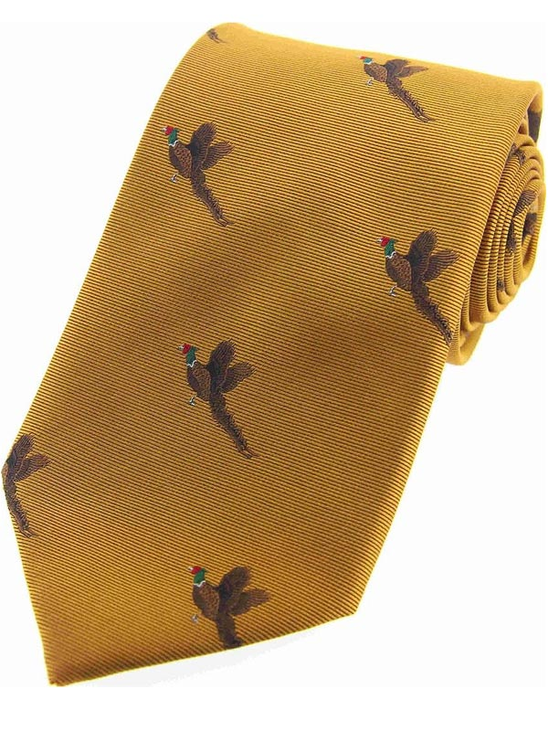 Soprano - Country Flying Pheasant Gold Silk Tie