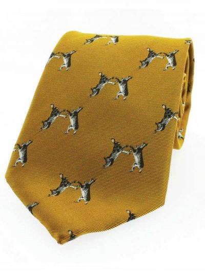 Soprano - Gold Ground Standing Hare Country Silk Tie
