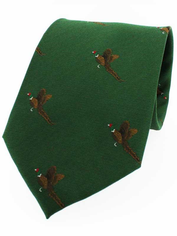 Soprano - Green Ground with Flying Pheasants Silk Tie