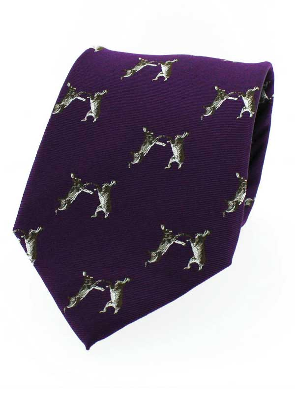 Soprano - Purple Ground Hare Country Silk Tie