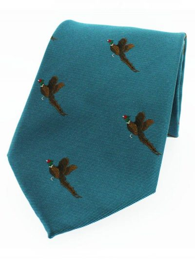 Soprano - Teal Ground With Flying Pheasants Silk Tie
