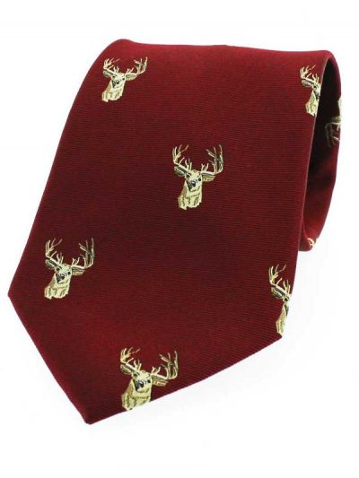 Soprano - Wine Red Stags Head Woven Silk Country Tie