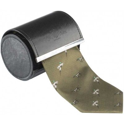 Alan Paine - Ripon Silk Tie - Pheasant & Dog Design - Olive Green