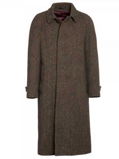 Magee Corrib Overcoat - Brown Herringbone Donegal Tweed
