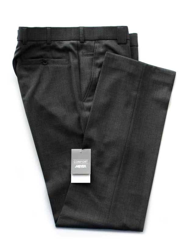 Meyer Charcoal Tropical Wool-Mix Trousers - Roma 344