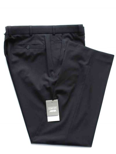 Meyer Navy Tropical Wool-Mix Trousers - Roma 344