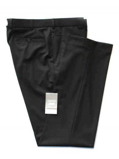 Meyer Black Tropical Wool-Mix Trousers - Roma 344