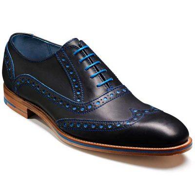 Barker Shoes - Grant - Brogue - Navy & Classic Blue Calf