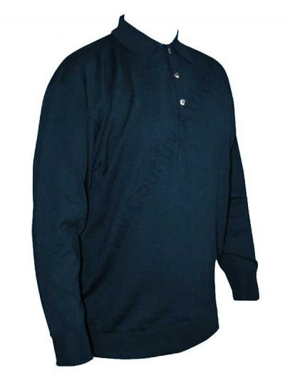 Franco Ponti Long Sleeve Polo - Merino Blend 108 - Airforce Blue