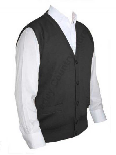 Franco Ponti Sleeveless Cardigan - Gilet - Merino Blend K06 - Charcoal