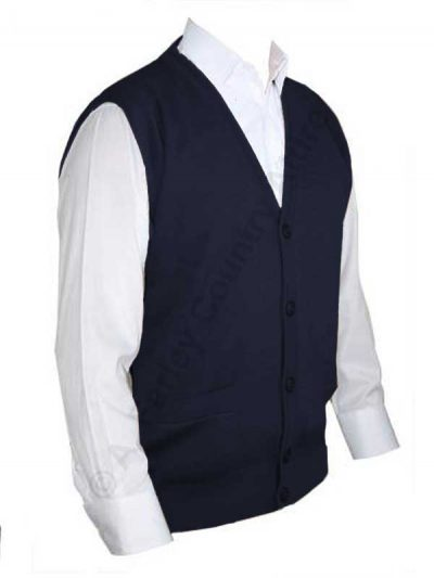 Franco Ponti Sleeveless Cardigan - Gilet - Merino Blend K06 - Navy