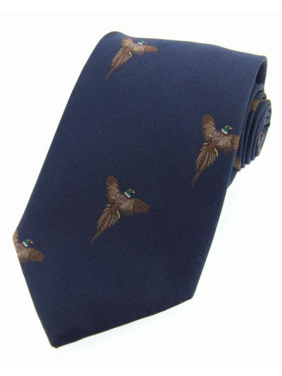 Soprano - Navy Flying Pheasants Woven Silk Country Tie