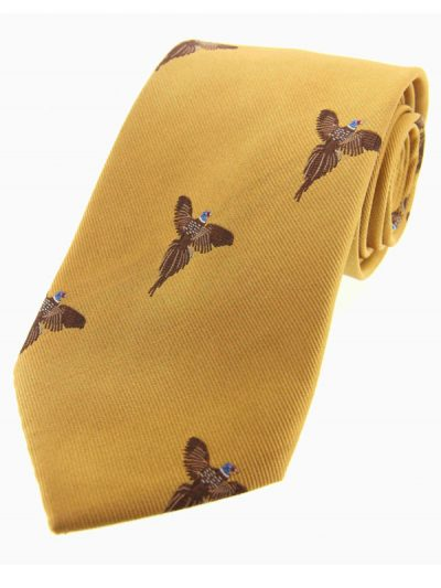 Soprano - Gold Flying Pheasants Woven Silk Country Tie