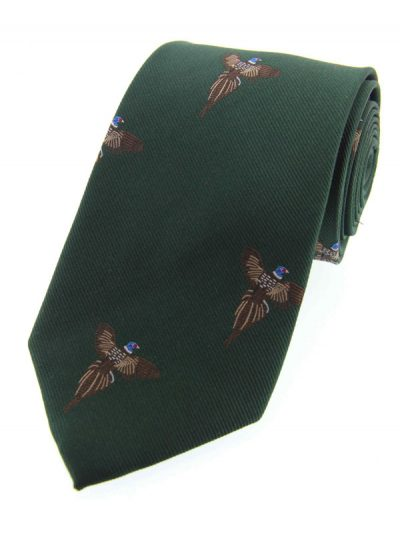 Soprano - Green Flying Pheasants Woven Silk Country Tie