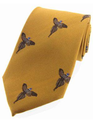 Soprano - Mustard Fying Pheasants Woven Silk Country Tie