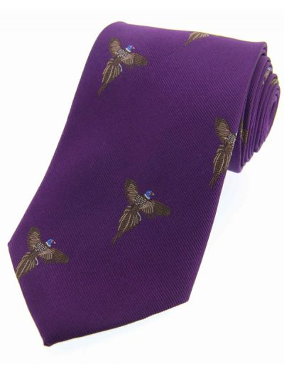 Soprano - Purple Flying Pheasants Woven Silk Country Tie