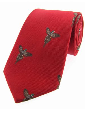 Soprano - Red Flying Pheasants Woven Silk Country Tie