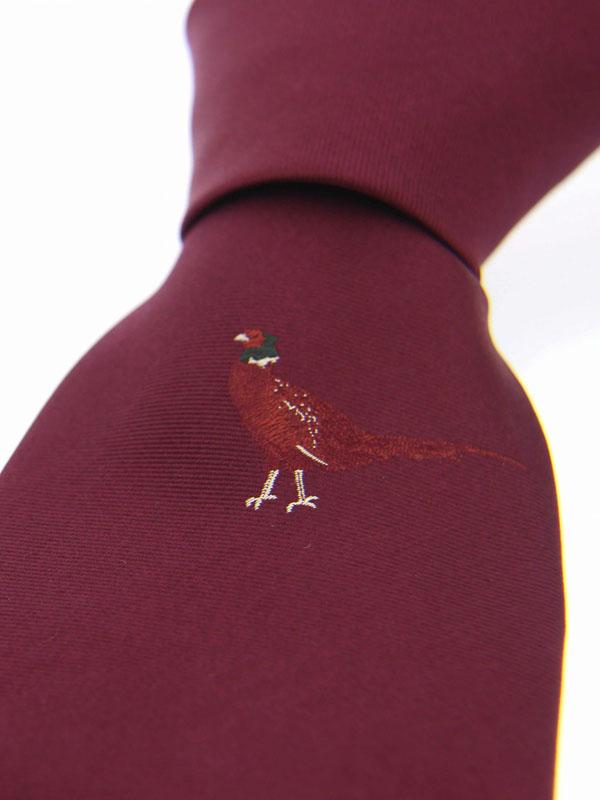 Soprano - Burgundy Underknot Standing Pheasant Silk Tie