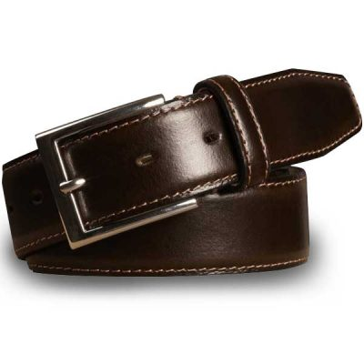 Meyer Trousers Stretch Leather Belt - Brown