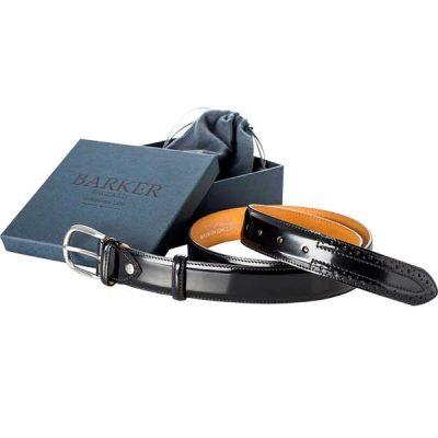 Barker Brogue Belt - Black Hi-Shine Leather