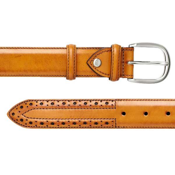 Barker Brogue Belt - Cedar Calf Leather - One size
