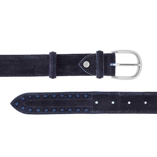 Barker Brogue Belt - Navy & Blue Suede