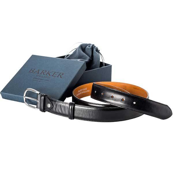 Barker Plain Belt - Black Calf Leather - One size