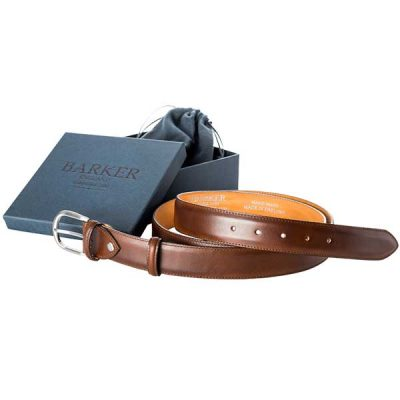 Barker Plain Belt - Mahogany Calf Leather - One size