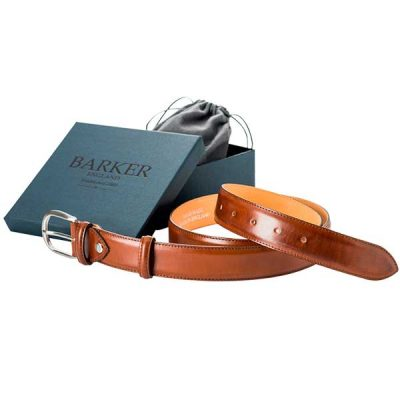 Barker Plain Belt - Walnut Calf Leather