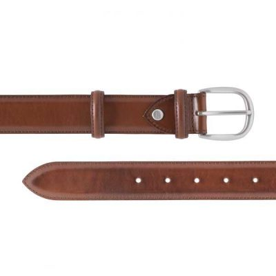 Barker Plain Belt - Walnut Calf Leather - One size