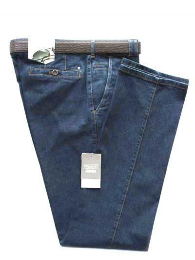 Meyer Stretch Denim Trousers - Roma 629 - Blue