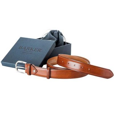 Barker Plain Belt - Rosewood Calf Leather