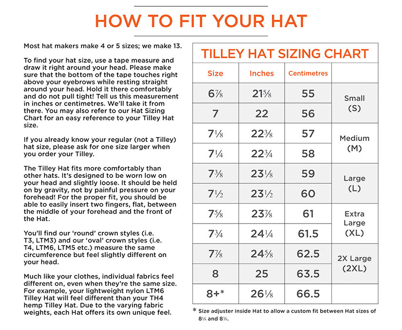 Tilley Hats - UK Sizing Guide