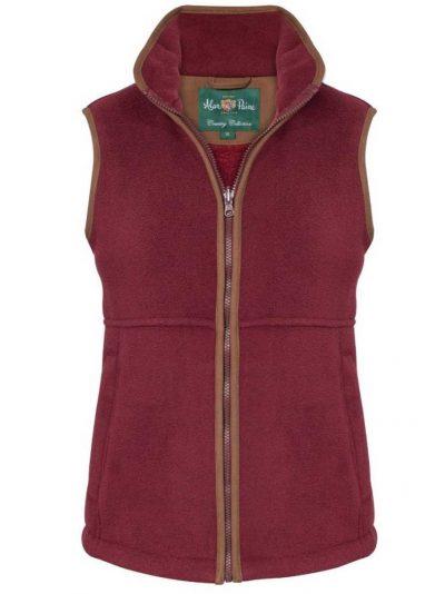 ALAN PAINE Gilet - Ladies Aylsham Fleece Waistcoat - Bordeaux