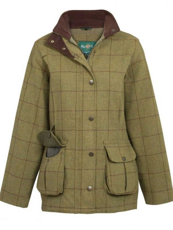 ALAN PAINE - Ladies Rutland Tweed Waterproof Shooting Coat - Lichen